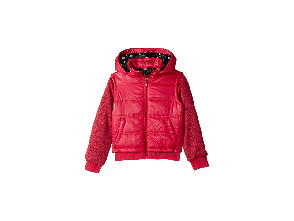 Urban Republic Kids Puffer Jacket with Melange Sleeves (Little Kids/Big Kids) (Pink) Girl