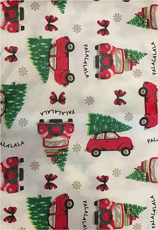 Christmas Holiday PEVA Vinyl Tablecloth 52 X 70 Or 52 X 90 Rectangle Or 60 Round Red Truck Christmas Christmas Trees Red Truck Christmas