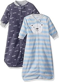 Carter's Baby Boys 2-Pack Microfleece Sleepbag, Blue Bear Script, Medium