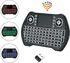 Mini Wireless Keyboard with TouchPad Portable Backlit Keypad Keyboard for Computer/Laptop/Tablets/Mac/Google Android TVbox/PS3, PC/PAD Black
