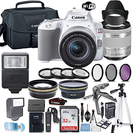 $699 Get Canon EOS Rebel SL3 (White) DSLR Camera Bundle with Canon EF-S 18-55mm STM Lens + 32GB Sandisk Memory + Canon Case + High Speed Slave Flash + Accessory Bundle