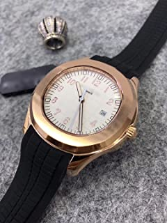 Luxury Brand Stainless Steel Gold Color White dial Black Rubber Automatic (self-Wind) Aqua Watch Watches