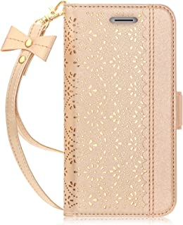 Galaxy S9 Plus Case,Galaxy S9 Plus Wallet Case, WWW [Luxurious Romantic Carved Flower] Leather Wallet Case with [Inside Makeup Mirror] and [Kickstand Feature] for Samsung Galaxy S9 Plus Gold