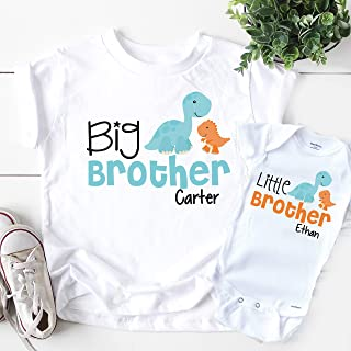 Personalized Big Brother Little Brother Shirts - Dinosaur Gift for New Baby