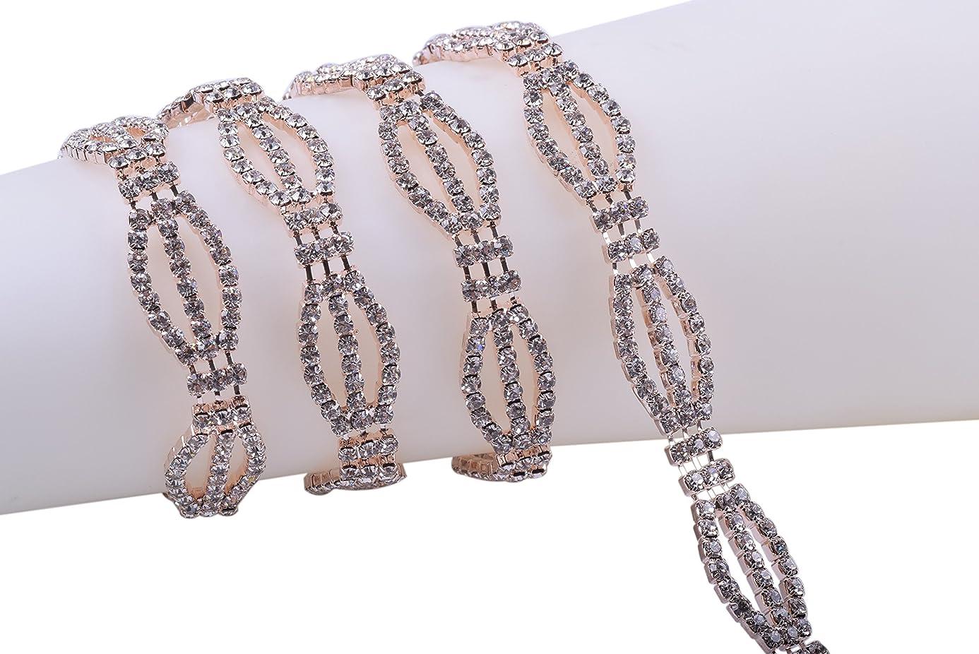 KAOYOO 1 Yard Rhinestone Chain Trim with Clear Crystal Rhinestone Rose Golden Chain for DIY Hair Tiara Wedding Embellishments cah7369431