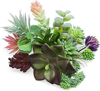Artificial Succulent Plants Faux Assorted – 16 PCS Unpotted Succulent Plants Arrangement Textured Cactus Stems Pick - Fake...