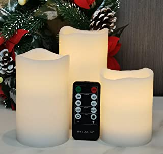 Flameless Candles Battery Operated White Real Wax Pillar H-BLOSSOM LED Candles with 10 Key Remote, Cycling 24 Hours Timer,...