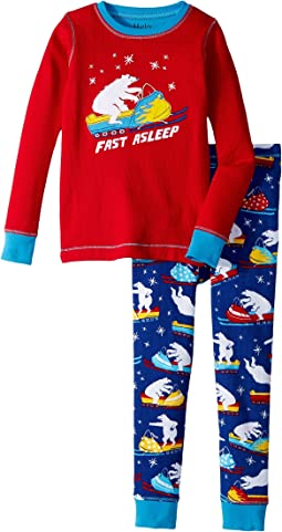 Polar Bear Snowmobile Waffle PJ Set (Toddler/Little Kids/Big Kids)