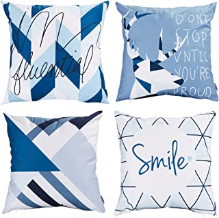 Jomo Throw Pillow Covers Modern Decorative Throw Pillow Case Cushion Case for Room Bedroom Room Sofa Chair Car, Blue and White, 18 x 18 Inch (summer2, 18x18)