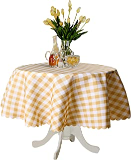 TUBEROSE Brown and White Checkered Round Table Cloth - Stain Resistant Waterproof Picnic Gingham Tablecloth for Outdoor Indoor, 60 Inch