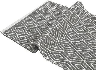 Chardin Home - 100% cotton Diamond Rug Fully reversible - Mat size 21''x34'', Machine washable, Gray & White