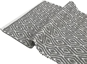 Chardin Home - 100% cotton Diamond Rug Fully reversible - Mat size 21''x34'', Machine washable, Gray & White