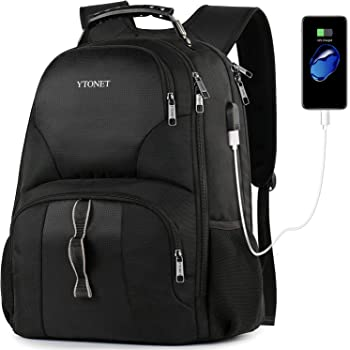 Ytonet Travel Laptop Backpack, Extra Large Anti Theft TSA Friendly Backpack with USB Charging Port, Water Resistant Work College School Bookbag Backpacks for Men Women Fit 17 Inch Notebook, Black