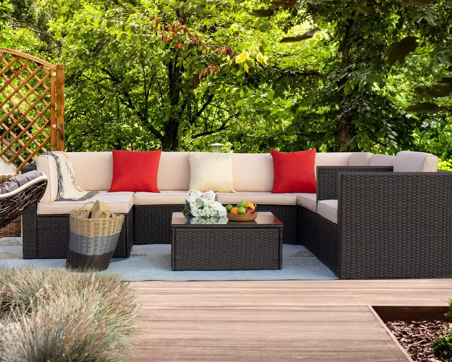 Homall 8 Pieces Challenge the lowest price of Japan ☆ Max 42% OFF Outdoor Patio Furniture Weather PE All Set Sofa