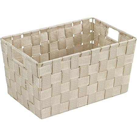 WM Homebase 3er Set Aufbewahrungsk/örbe Aufbewahrungskorb aus Stoff Stoffkorb in Beige 36x25x16 cm
