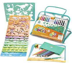 Drawing Stencils and Colored Pencils Arts and Crafts Set, 260+ Unique Reusable Designs, BPA-Free - Award-Winning Art Kit for Kids Ages 4-8