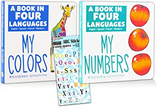 Multiligual Books for Children Collection Bundle ~ 2 Pack My Numbers & My Colors Board Books in Four Languages (English, S...