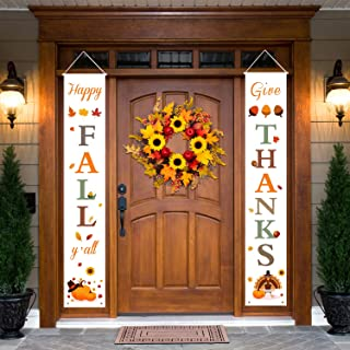 Dazonge Thanksgiving Fall Decorations   Happy Fall Y'all & Give Thanks Porch Signs   Thanksgiving Home Decor   Welcome Signs