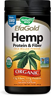 Nature's Way EfaGold Hemp Protein & Fiber Powder, 11 g of Fiber & 11 g of Protein per serving, USDA Organic, NON-GMO, 16 O...