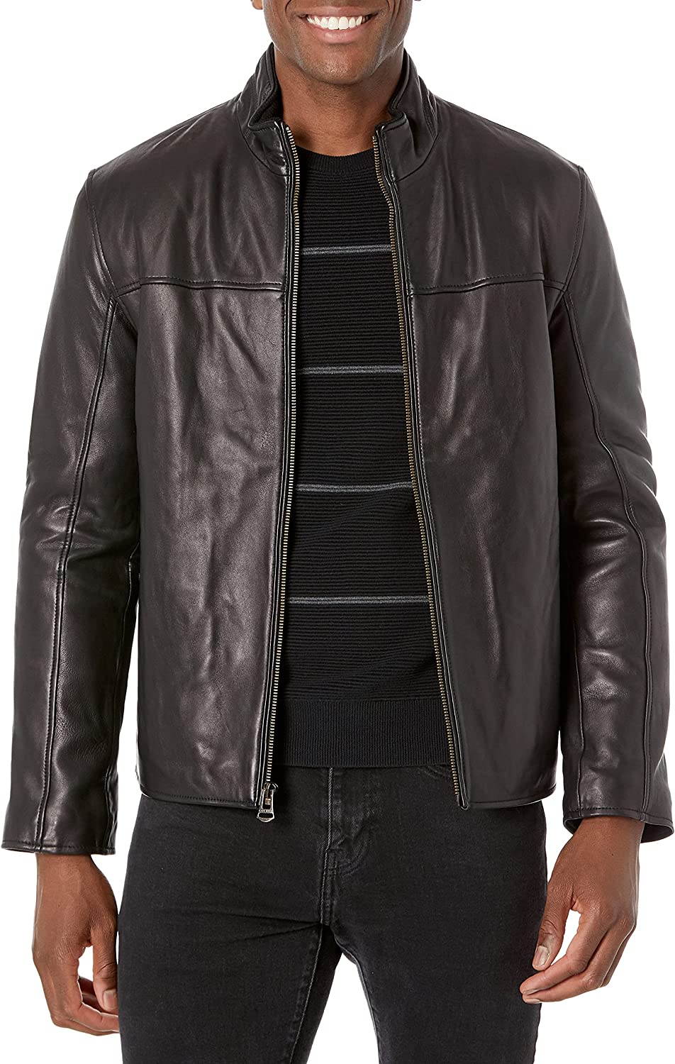 Cole Haan Men's Smooth Lamb Leather Jacket With Convertible Collar
