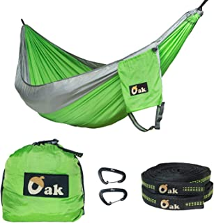 Gear Lab Store Oak - New Diamond Tech Ripstop Nylon Hammock, 2 XL Tree Straps (30 ft Total, Holds 2200 lbs), and 2 High Strength Aluminum Carabiners (5 kN)