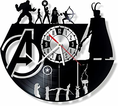 NiceIdeas4Home AVENGERS wall clock made from vintage vinyl record wonderful handmade gift for your loved one