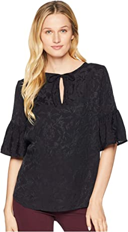 Luxe Jacquard Peasant Top
