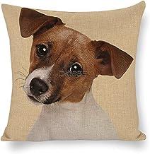 DKISEE Russell Puppy Hond Decoratieve Sierkussenhoes 18x18 Inch - Home Decor voor Slaapbank Bank - Katoen Linnen Kussenslo...