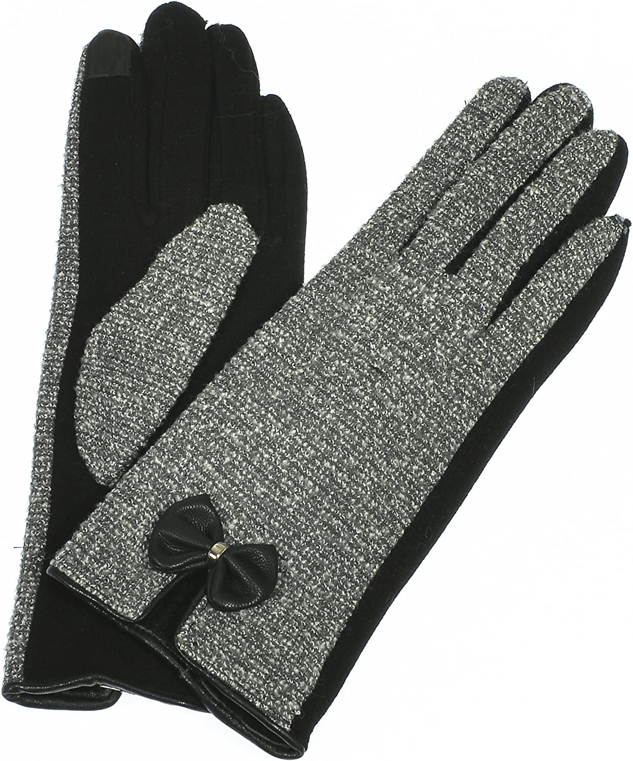 Hand By Hand Women's Touch Screen Gloves Bow-Tie Plush Lined Warmth