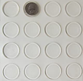 Glass Table Top Bumpers - 16 Pack - Thin Clear Bumper Pads - 1.23 Inch Round Rubber Bumpers Self Adhesive - Glass Table Rubber Feet - Glass Table Top Spacers