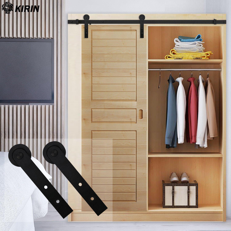 Kit de riel de puerta corredera de 152 cm con rodillos en forma de I para armario, soporte de TV, armario: Amazon.es: Bricolaje y herramientas