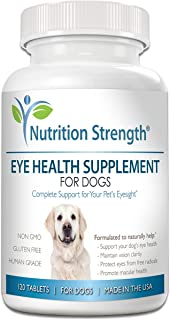 Nutrition Strength Eye Health Supplement for Dogs with Lutein, Bilberry Fruit, Grape Seed & Green Tea Extract, Multivitamin Support for Dog Eye Allergies & Irritation Problems, 120 Chewable Tablets