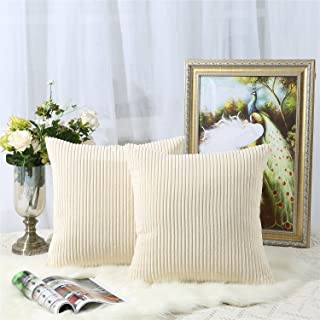 Miaote Pack of 2 Decorative Throw Pillow Covers Cases for Couch Bed Sofa,Striped Corduroy Velvet Cushion Covers for Baby, 16 X 16 Inches,Beige