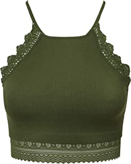 Women's Strappy Seamless Bralette Unpadded Racerback Crop Top(for A-C Cups)