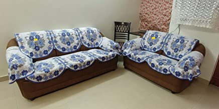 FAB NATION NET 10 Sofa Panels and 4 Arms Sofa Cover (Blue,Off-White,Golden)