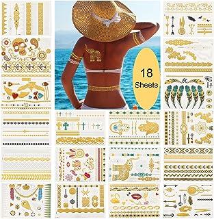KATELUO 18 metalliska tillfälliga tatueringar, festivaltillbehör, klistermärke kroppsfestival vattentät tatuering klisterm...