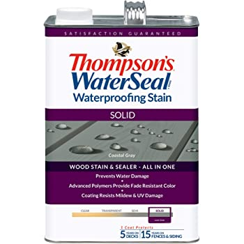 Thompson's Water Seal TH.043861-16 Solid Waterproofing Stain, Coastal Gray