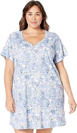 Plus Size Azure Whisper Short Sleeve Henley Nightshirt