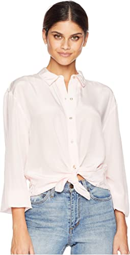 Soft Woven Silk w/ Lace Back Shirting Top