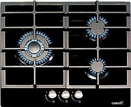 CATA Modelo LCIB 6021 BK   Encimeras butano 3 Fuegos   Cocina de Gas   Ancho de 58 cm   Parrillas/Quemadores Hierro Fundido   Potencia 6,25 kW, 1000 W, Glass, Negro