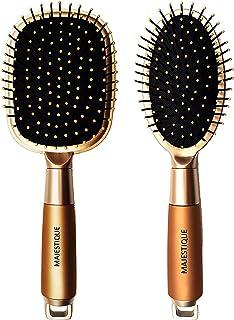 Majestique Paddle Detangler Hair Brush Golden with Oval Cushion Detangling Brush golden with Soft Bristles, Perfect Hair B...