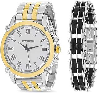 Steve Madden Link Bracelet Analog Men's Watch Set (SMWS033)
