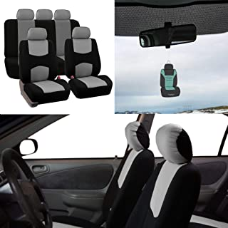 FH Group FB050115 Full Set Flat Cloth Car Seat Covers Gray/Black Color- Fit Most Car, Truck, SUV, or Van