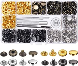Snap Fasteners Kit 100 Sets Metal Snap Buttons Press Studs with 4 Pieces Fixing Tools Clothing Snaps Kit for Leather Coat Jacket Jeans Wear and Bags, 4 Colors