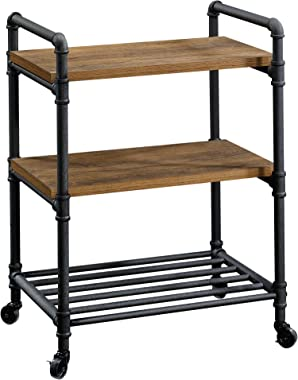 "Sauder Iron City Multi-Purpose Cart, L: 23.47"" x W: 16.81"" x H: 31.73"", Checked Oak Finish"