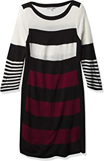 Sandra Darren Women's 1 Pc 3/4 Sleeve Striped Sweater Dress