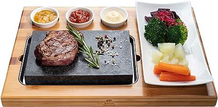 Beefstone Planche à steak en pierre de lave avec planche en bambou et plaque en procelane avec coupelles à sauce, sans gra...