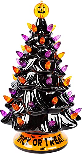 high quality Twinkle Star outlet online sale Pre-lit Halloween Ceramic Tree, 12 Inch Hand-Painted Mini Tabletop Tree, Lighted Orange & Purple Bulbs Pumpkin Top, Black high quality Glossy Finish Pine Tree Holiday Party All Saints Day Decoration outlet sale