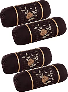 Rj Products™ Cotton Bolster Cover with Beautiful Rose Embroidery Set of 4 Piece (Coffee)