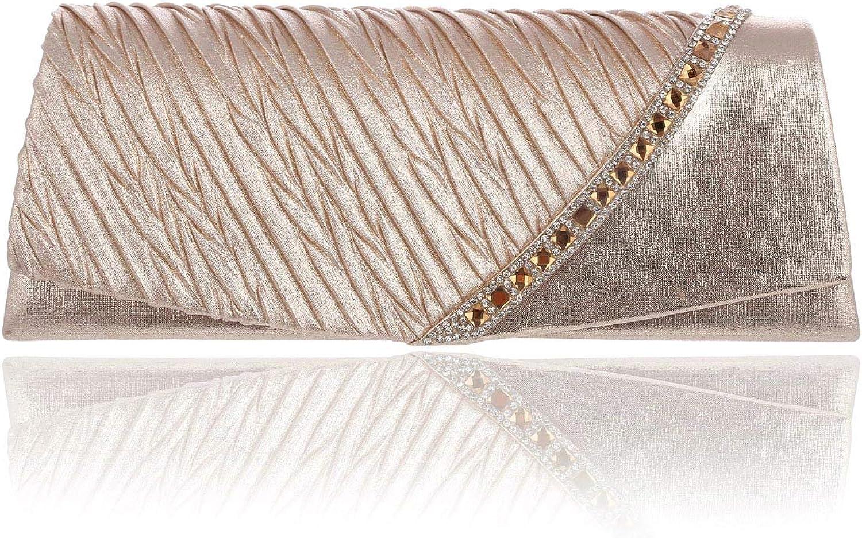 Damara Womens Satin Crystal Detail Cocktail Party Handbag